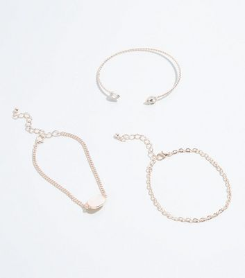 3 Pack Rose Gold Stone Cuff and Chain Bracelets