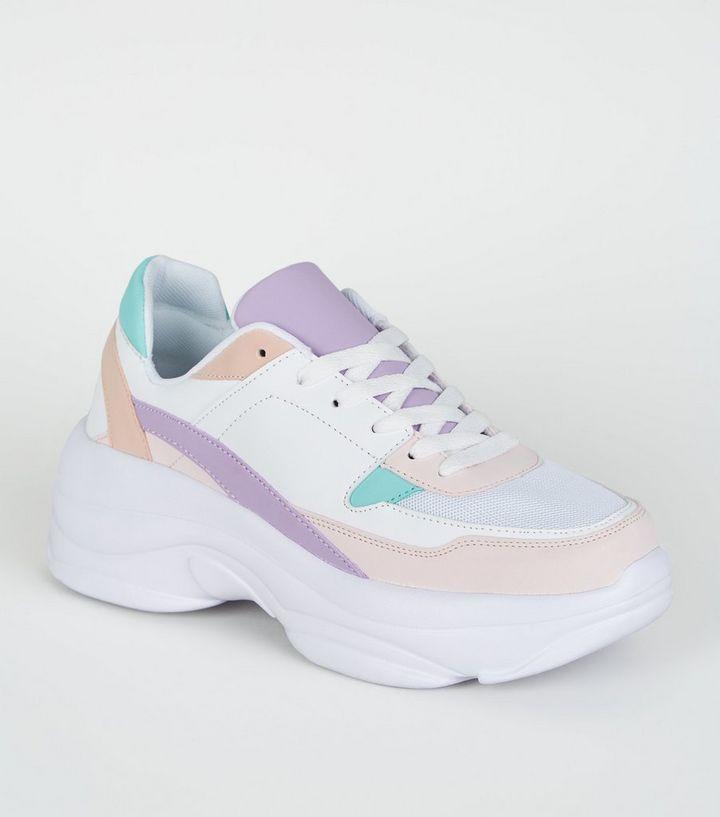 1b7bad1e928 Multicoloured Pastel Chunky Sole Trainers
