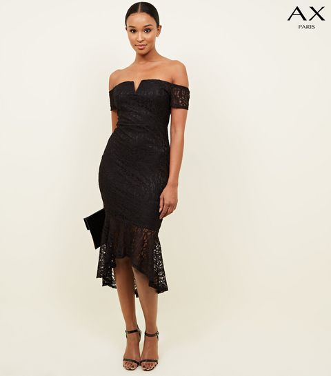 8becc8362e42 ... AX Paris Black Fishtail Bardot Midi Dress ...
