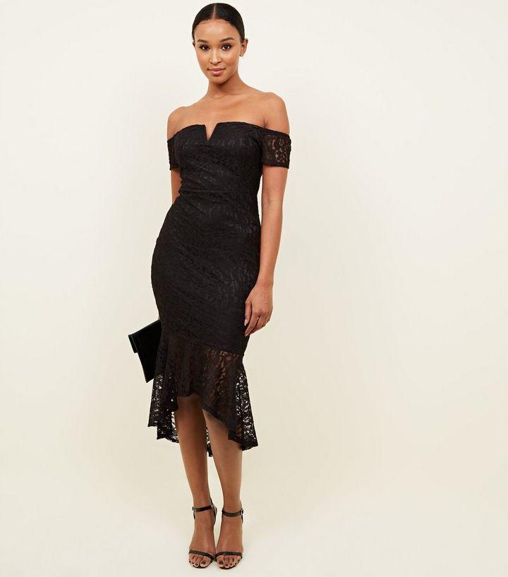 AX Paris Black Fishtail Bardot Midi Dress  abb2edad7760
