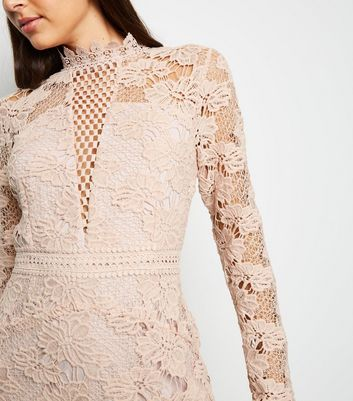 shop for AX Paris Light Brown Crochet Open Back Dress New Look at Shopo