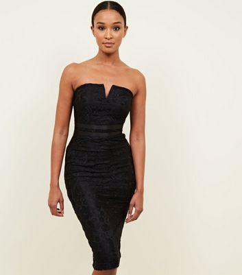 a664c14408 ... AX Paris Black Lace Strapless Bodycon Dress