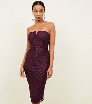AX Paris Burgundy Lace Strapless Bodycon Dress