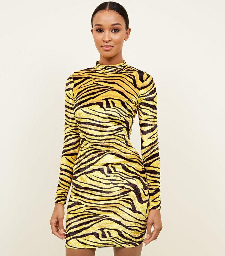 f14d23751d3 Carpe Diem Yellow Tiger Print Bodycon Dress