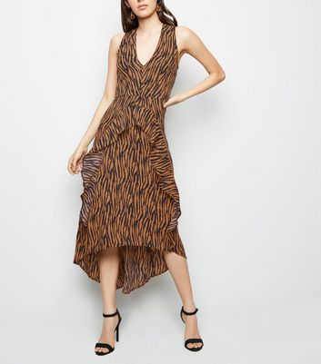 AX Paris Brown Tiger Print Dip Hem Midi Dress