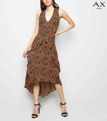 af581a379d63 AX Paris Brown Tiger Print Dip Hem Midi Dress ...