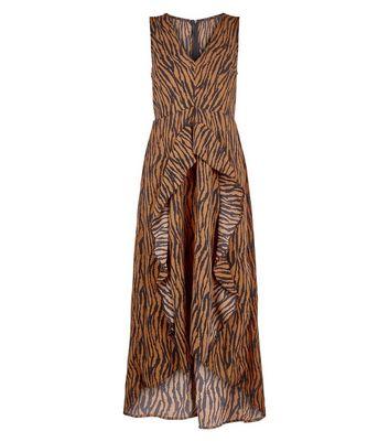 shop for AX Paris Brown Tiger Print Dip Hem Midi Dress New Look at Shopo