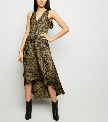 AX Paris Khaki Tiger Print Dip Hem Midi Dress