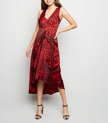 AX Paris Red Tiger Print Dip Hem Midi Dress
