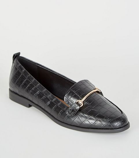 648cf7c00ce ... Black Faux Croc Pointed Loafers ...