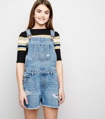 Girls Pale Blue Denim Short Dungarees