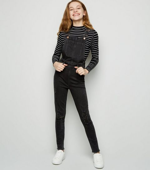 a09424e7bd2 Girls Black Ripped Denim Dungarees · Girls Black Ripped Denim Dungarees ...