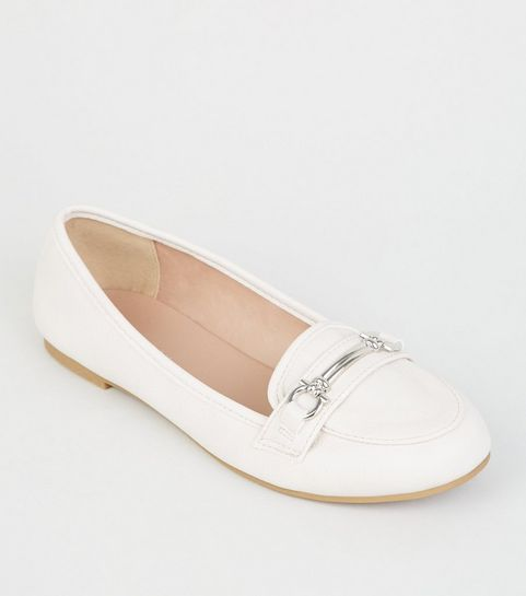 937a1636004 ... Off White Leather-Look Bar Front Loafers ...