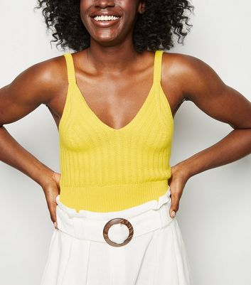 Yellow Knitted Bralette by New Look