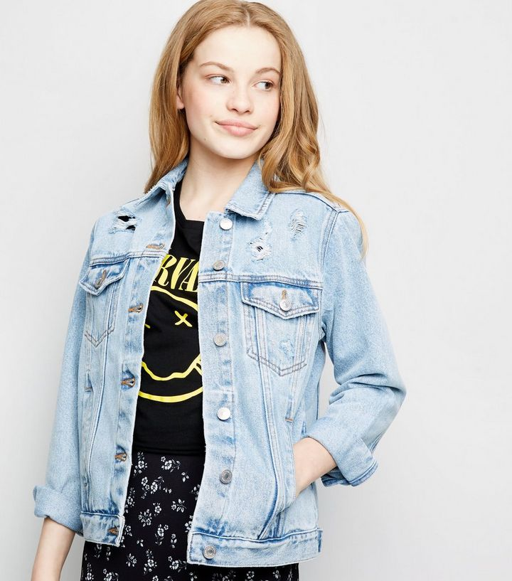 851b1ba2a Girls Blue Ripped Oversized Denim Jacket Add to Saved Items Remove from  Saved Items