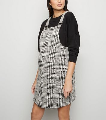 Maternity Black Houndstooth Pocket Pinafore Dress