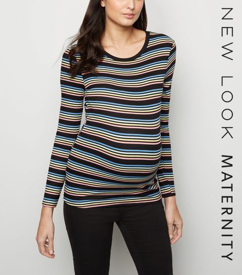 f6f79244762fd ... Maternity Black Stripe Ribbed Long Sleeve Top ...