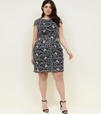 Blue Vanilla Curves Black Lace Mini Dress