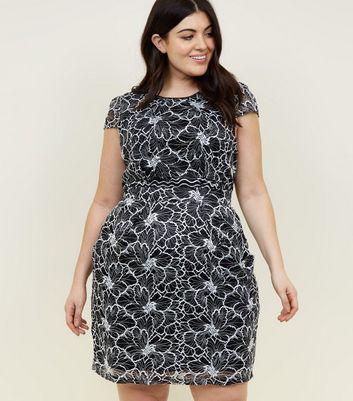 shop for Blue Vanilla Curves Black Lace Mini Dress New Look at Shopo