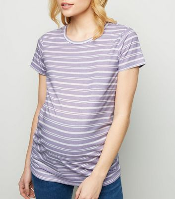 Maternity Purple Stripe Short Sleeve T-Shirt