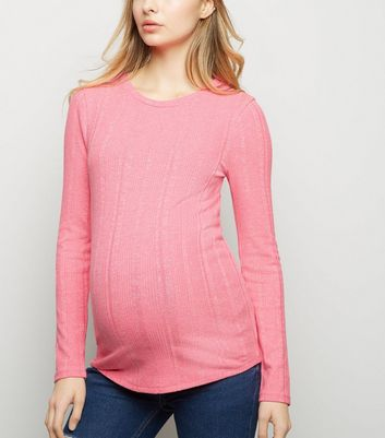 Maternity Pink Neon Marl Ribbed Crew Neck Top