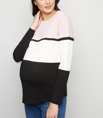 Maternity Pink Colour Block Jumper