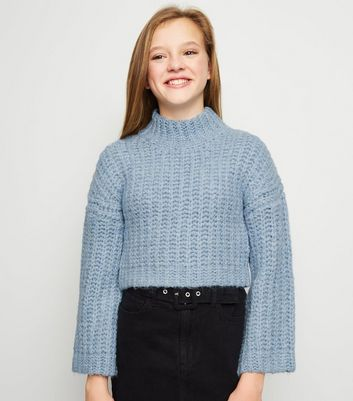 Girls Pale Blue High Neck Chunky Knit Jumper
