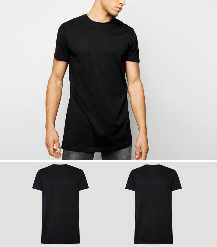 2 Pack Black Longline T-Shirts  258c163802d