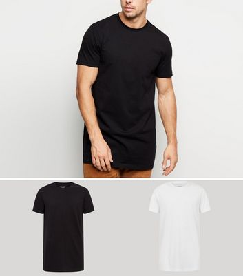 2 Pack Black and White Longline T-Shirts