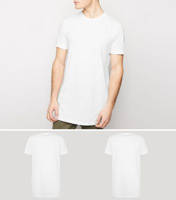 2 Pack White Short Sleeve Longline T-Shirts