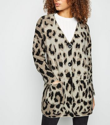 Brown Leopard Print Brushed Knit Cardigan