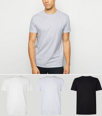 3 Pack Black White and Grey Crew Neck T-Shirts