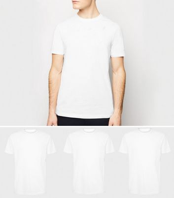 3 Pack White Crew Neck T-Shirts
