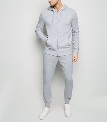 Grey Zip Up Hoodie and Joggers Tracksuit