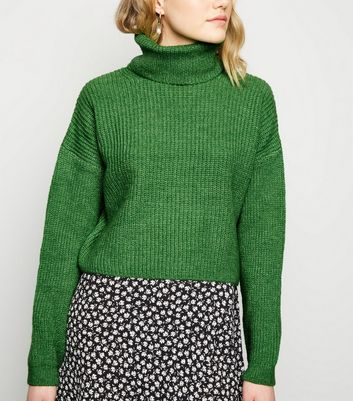 Green Roll Neck Boxy Jumper