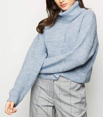 Pale Blue Roll Neck Boxy Jumper