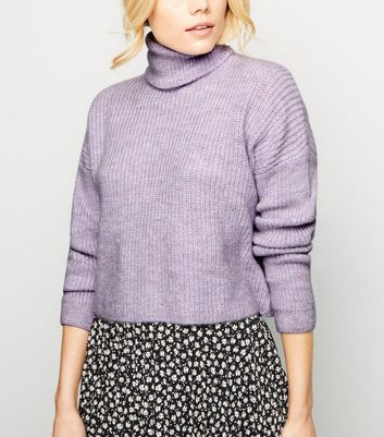 Lilac Roll Neck Boxy Jumper
