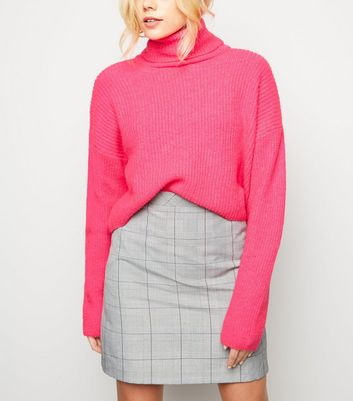 Bright Pink Neon Roll Neck Boxy Jumper