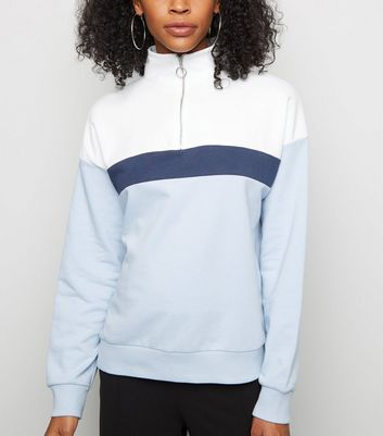 Blue Colour Block Half Zip Sweatshirt
