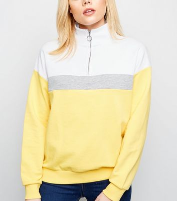 Yellow Colour Block Half Zip Sweatshirt