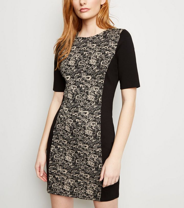 Apricot Black Floral Jacquard Panelled Bodycon Dress New Look
