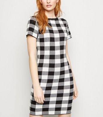 Apricot Black Gingham Knitted Bodycon Dress