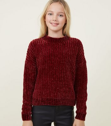 Girls Burgundy High Neck Chenille Jumper