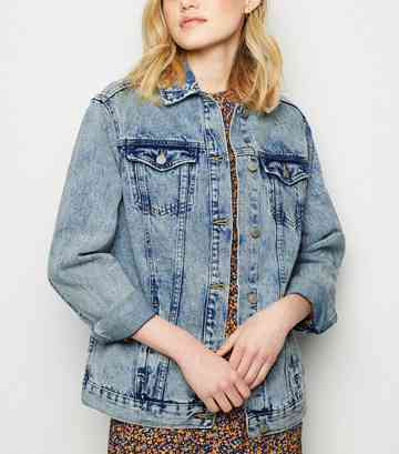 Blue Acid Wash Oversized Denim Jacket