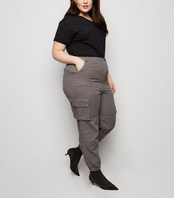 Curves Dark Grey Cuffed Utility Joggers