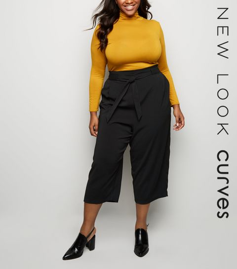 0a0988f4689f1 ... Curves Black Tie Waist Culottes ...