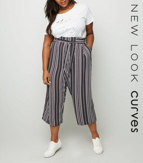 3c26a1e258444d ... Curves Black Stripe Tie Waist Culottes ...