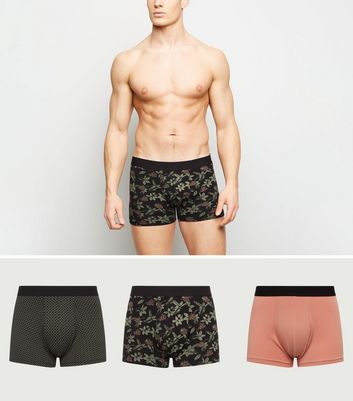 3 Pack Green Floral and Geometric Trunks
