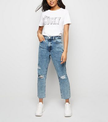 Petite Blue Acid Wash Ripped Knee Mom Jeans