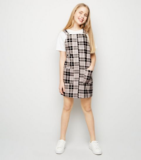 ... Girls Pink Check Denim Pinafore Dress ... c6cbd4bbc40e